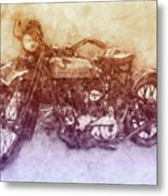 Indian Chief 2 - 1922 - Vintage Motorcycle Poster - Automotive Art Metal Print