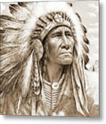 Indian Chief With Headdress Metal Print