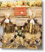 Indian Corn Wreaths Metal Print