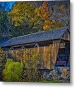 Indian Creek Covered Bridge In Fall Metal Print