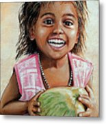 Indian Girl From The Slums Metal Print
