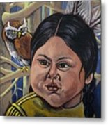Indian Girl In The Woods Metal Print