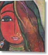 Indian Girl With Nose Ring Metal Print
