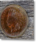 Indian Head Cent In Uncirculated Condition On Old Wood  Metal Print