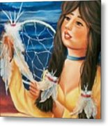 Indian Maiden With Dream Catcher Metal Print