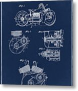 Indian Motorcycle Patent 1943 Blue Metal Print