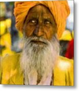 Indian Old Man Metal Print