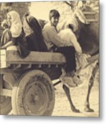 Indian People In Camel Cart- Sepia Metal Print