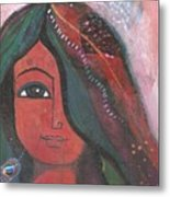 Indian Rajasthani Woman Metal Print