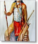 Indian With Spear And Arrows Metal Print