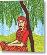 Indian Woman With Weeping Willow Metal Print