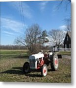 Indiana Hwy 63 South Vintage Ford Tractor Color Version Metal Print