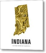 Indiana Map Art Abstract In Gold Yellow Metal Print