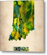 Indiana Watercolor Map Metal Print by Naxart Studio