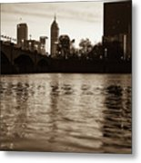 Indianapolis On The Water - Sepia Skyline Metal Print