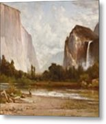 Indians Fishing In Yosemite Metal Print