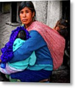 Indigenous Woman And Children Of Mexico Metal Print