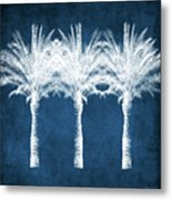 Indigo And White Palm Trees- Art by Linda Woods Metal Print