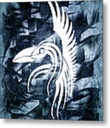 Indigo Bird Flight Contemporary Metal Print