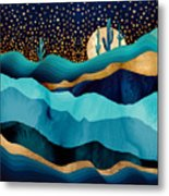 Indigo Desert Night Metal Print