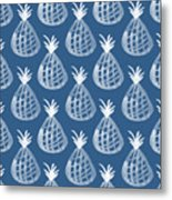 Indigo Pineapple Party Metal Print