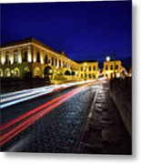 Indigo Sky And Car Lights Over Plaza Espana And Puente Nuevo Bri Metal Print