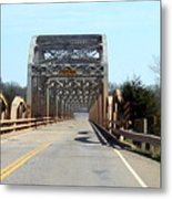 Industrial Bridge Over The Red River Metal Print