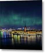 Infinite Aurora Over Stockholm Metal Print