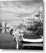 Infrared Boats At Lbi Bw Metal Print