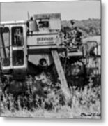 Infrared Bw Old Farm Combine Metal Print