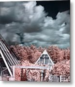 Infrared Glass Pyramids Panorama Metal Print