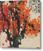 Ink Painting A Tree Gules Persimmon Girl Metal Print