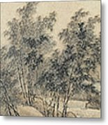 Ink Painting Landscape Bamboo Forest Rivers Metal Print
