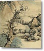 Ink Painting Landscape River Metal Print