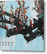 Ink Painting Plum Blossom Blue Metal Print