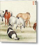 Ink Painting Stud Of Horses Metal Print