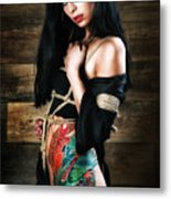 Inked, Tied Girl - Fine Art Of Bondage Metal Print