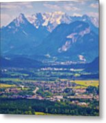 Inn River Valley And Kaiser Mountains View Metal Print