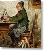 Innkeeper With A Cat Metal Print