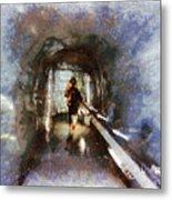 Inside An Ice Tunnel In Switzerland Metal Print