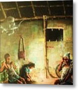 Inside Refugee Hut Metal Print
