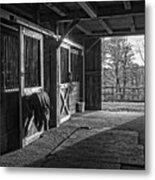 Inside The Horse Barn Black And White Metal Print