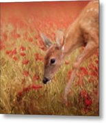 Inspecting The Poppies Metal Print