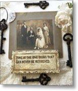 Inspirational Art - Vintage Wedding Photo With Antique Keys - Inspirational Vintage Black Keys Art  Metal Print