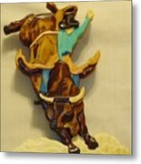 Intarsia Bull-rider Metal Print by Russell Ellingsworth