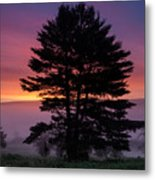Intense Dawn Sky Over A Foggy South Amherst Metal Print
