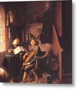 Interior With A Young Violinist 1637 Metal Print