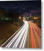 Interstate Freeway Through Portland Oregon Downtown Metal Print