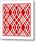 Intertwine Latticework With Border In Red Metal Print