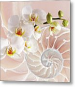 Intimate Fusion In Soft Pink Metal Print